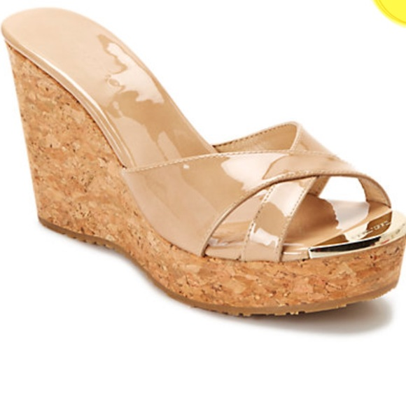 jimmy choo shoes pandora patent cork wedge poshmark rh poshmark com